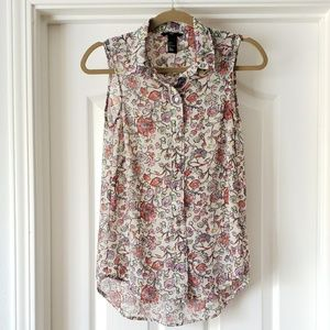Colorful Printed Sleeveless Button Down Top